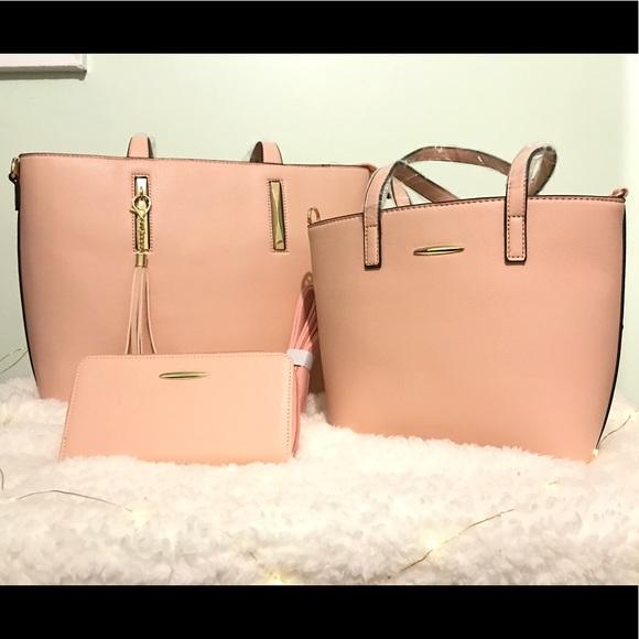 Handbags - 3-piece set Blush Pink Purse,Mini Purse,Wallet